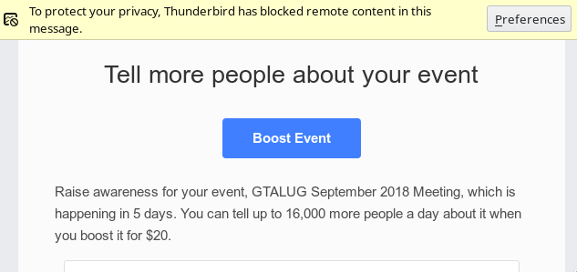 Facebook asking for $20 to show my event to 15000 people via email